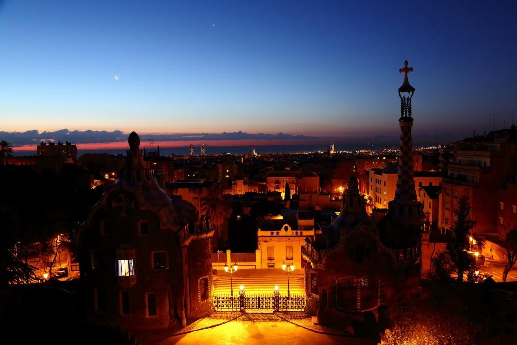 Vista aerea de Barcelona al atardecer