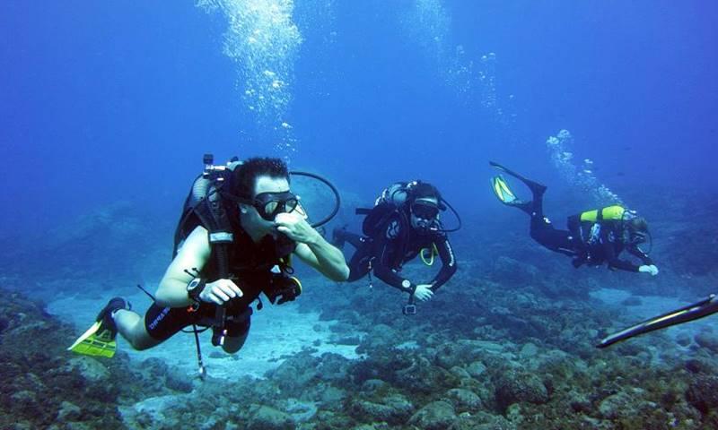 Entre las cosas que hacer en Tenerife se encuentra el buceo que están haciendo tres personas.